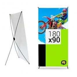 Banner com Ilhós para X-Banner Lona 280g 175x90cm  Fosco Ilhós