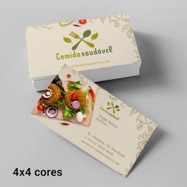 Cartão de Visita Básico Couche 250g 8,8x4,8cm Colorido Frente - Verso sem Impressão Verniz Alto Brilho Frente Cantos Retos