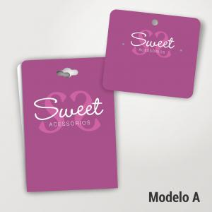 Kit Tags Jóias Bijuteria KT003 Papel Triplex 300g Cartela 4x0 cores Verniz Alto Brilho Frente Corte Especial