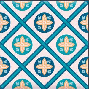 Papel De Parede Adesivo Lavável Azulejo Azul A Vinil Adesivo Fosco 47x260cm 4x0  Nenhum