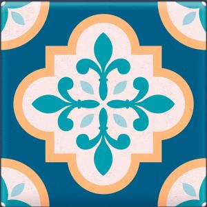 Papel De Parede Adesivo Lavável Azulejo Azul B Vinil Adesivo Fosco 47x260cm 4x0  Nenhum