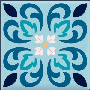 Papel De Parede Adesivo Lavável Azulejo Azul C Vinil Adesivo Fosco 47x260cm 4x0  Nenhum