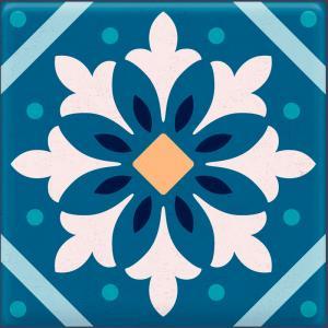 Papel De Parede Adesivo Lavável Azulejo Azul F Vinil Adesivo Fosco 47x260cm 4x0  Nenhum