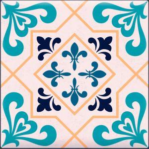 Papel De Parede Adesivo Lavável Azulejo Azul H Vinil Adesivo Fosco 47x260cm 4x0  Nenhum