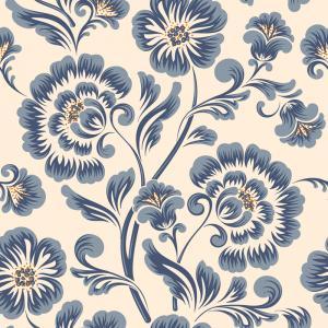 Papel De Parede Adesivo Lavável Flor Azul Vinil Adesivo Fosco 47x260cm 4x0  Nenhum
