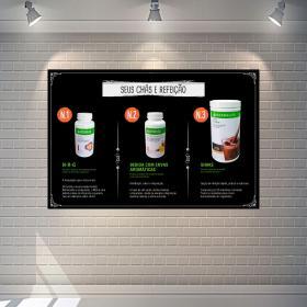 Placa Chás e Refeição Espaço Herbalife PS 1mm  4x0 Adesivo impressão digital fosco Cantos retos