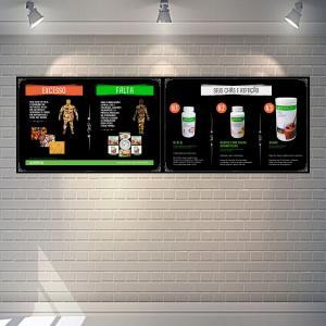 Placa Espaço Herbalife Falta e Excesso + Chás PS 1mm  4x0 Adesivo impressão digital fosco Cantos retos
