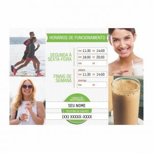 Placa Horário de Funcionamento Espaço Herbalife PS 1mm 36x26cm 4x0 Adesivo impressão digital fosco Cantos retos