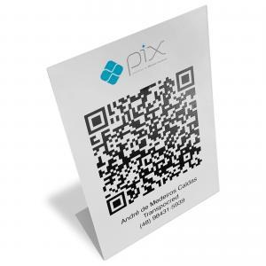 Placa QR-code Pix Personalizada PS 1mm 17x12cm Frente colorida Vinil adesivo fosco