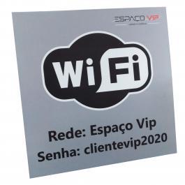 Placa Wi-fi Zone e Senha de Acesso Personalizada PS 1mm 25x25cm Frente colorida Vinil adesivo fosco