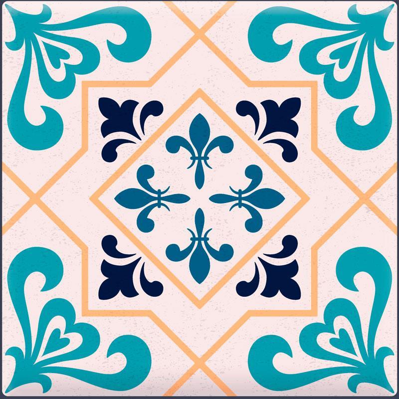 Papel De Parede Adesivo Lavável Azulejo Azul H