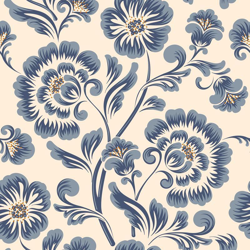 Papel De Parede Adesivo Lavável Flor Azul